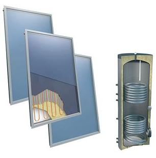 Solarpakket 4plus platdak 400 liter Solarboiler, 3 collectoren