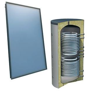 Solarpakket 4plus 4 collectoren 800 l verswater platdak 2 warmtewisselaars