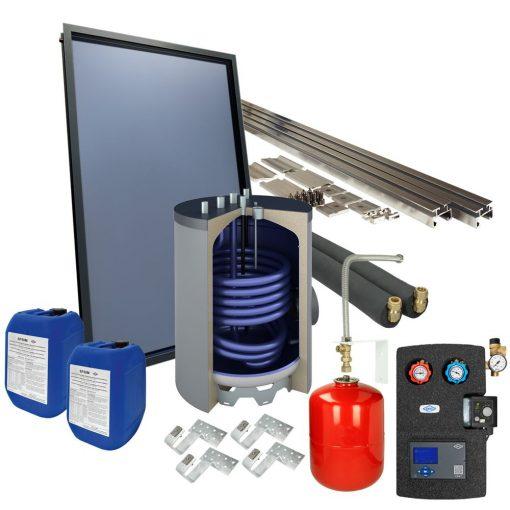 Solarpakket 4plus schuindak 120 l. onderstel tapwaterboiler 1 collector