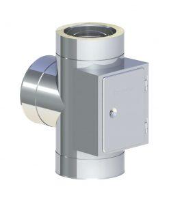 T-aansluiting 90° RVS met tegenover geplaatste reiniging