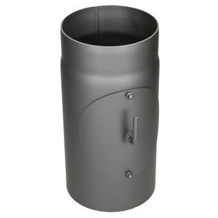 Kachelpijp grijs gietijzer 300 mm met smoorklep en deur