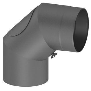 Kachelpijp grijs gietijzer 90° met deur