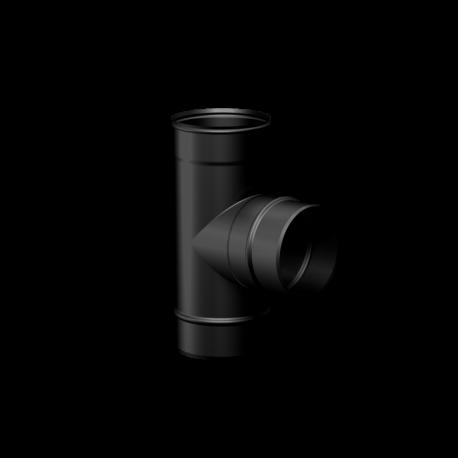 Pelletkachel rookkanaal zwart RVS premium line, T-stuk 90° mannelijk